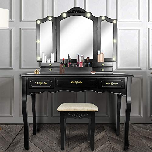 Vanity Beauty Station,Large Tri-Folding Necklace Hooked Mirrors,6 Organization 7 Drawers Makeup Dress Table with Cushioned Stool Set - Black