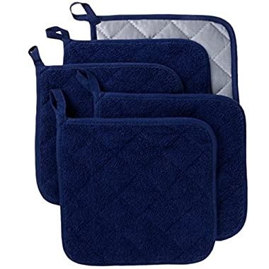 100% Cotton Kitchen Everyday Basic Terry Pot holder Heat Resistant Coaster Potholder for Cooking and Baking Set of 5 Dark Blue