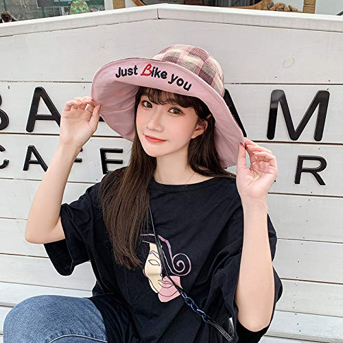wtnhz Fashion items Korean fisherman hat double-sided sun protection protective cap embroidery basin hat female foldable lattice sun protection hat
