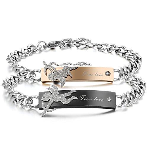 JewelryWe Schmuck 2pcs Herren Damen Armband, Lieben Freundschaftsarmband, True Love & Cupid Angel Pfeil, Edelstahl, Gold Schwarz Silber