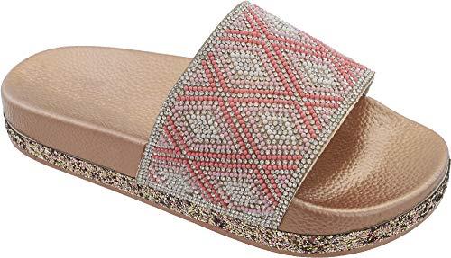 Babe Damen Flip Flop Sandalen mit Glitzersteinen, Pink (Rose), 42 EU