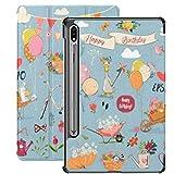 Estuche para Galaxy Tab S7 Estuche Delgado y liviano con Soporte para Tableta Samsung Galaxy Tab S7 de 11 Pulgadas Sm-t870 Sm-t875 Sm-t878 2020 Release, Set Birthday Animals Elements