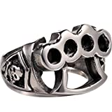 Silver Biker Ring 316L Stainless Steel Boxing Gloves Hand Buckle Soft...