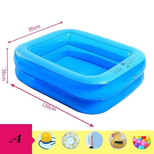 GYL Opblaasbare badkuip, blauw, PVC, 120 x 95 x 36 cm (lengte x breedte x hoogte), handpomp elektrische pomp, comfortabel zomer, kinderen en volwassenen