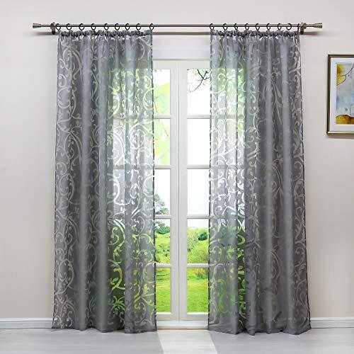 Heichkell Voile Gardinenschal mit Kräuselband Transparent Vorhang mit Ausbrenner Design Wohnzimmer Gardine 1PC Store BxH 140x225cm Grau