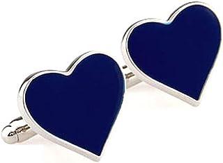 أزرار أكمام MRCUFF Heart Blue Engagement Day Valentine's Day في صندوق هدايا وقطعة قماش تلميع