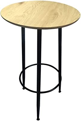 Zons Table Mange Debout Rond en Bois Pieds Noir, D60xH103 cm