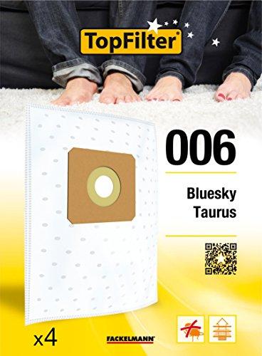 TopFilter 006, 4 sacs aspirateur pour Bluesky, Taurus, boîte de sacs d'aspiration en non-tissé, 4 sacs à poussière (30 x 26 x 0,1 cm)