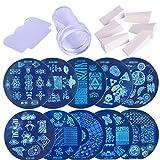 FeelMeet 1 Juego de uñas de Arte Imagen Que Estampa Plantillas del raspador Kit Stamper 10 de manicura Set con Placas Stamper Herramienta raspador y para DIY Nail Art