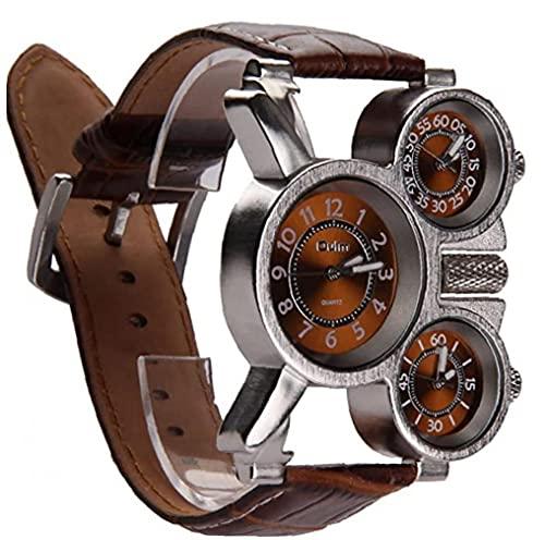 YepYes Multifunktionale Uhr der Männer DREI analoge Zifferblätter Leuchtzeiger und Bequeme Lederband Design (braun 1 Stück)