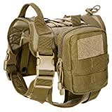 Gonex Tactical Dog Harness Hunting Working Dog Vest Training Molle Harness with Detachable Pouches (M, Brown)