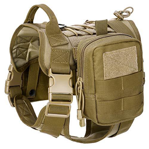 Gonex Arnés Perros Chaleco Táctico para Perro Entrenamiento Militar Molle Accesorios Protección para Mascota al Aire Libre, 1000D Nylon Transpirable Cómodo con Asa y 2 Bolsos Desmontables (Caqui, XL)