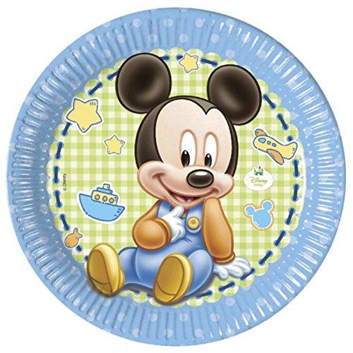 Generique - 8 Assiettes Carton Bébé Mickey 23 cm