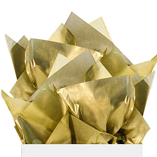 UNIQOOO 60 Sheets Metallic Gold Foil Gift Tissue Paper Bulk, Recyclable Durable, For Gift Bags Gift Wrapping Crafts, Wedding Birthday Party Favor Decor, Fringes,Shredded Fill,Piñata,Confetti,20X26Inch