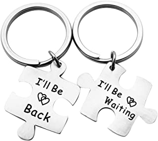 2pcs His and Hers Puzzle Piece Pendant Necklace Keychain Set Couples Key Chain Set Stainless Steel Keyring for Boyfriend Girlfriend Long Distance Couples