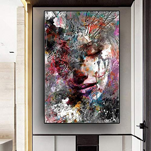 HGlSG Abstract Vrouw Olieverf Cuadros Decoracion Dormitorio Graffiti Stijl Canvas Wall Art Canvas Schilderij Tuindecoratie Woonkamer Sofa Cuadros A1 50x70cm