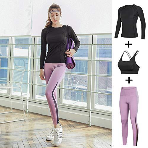 Panty voor dames, leggings voor lente en zomer, fitnesskleding, dames, sportpak, yoga, slanke broek, sneldrogend, overhemd met lange mouwen, rok, beenbroek, vochtafvoerend, zwart, XL