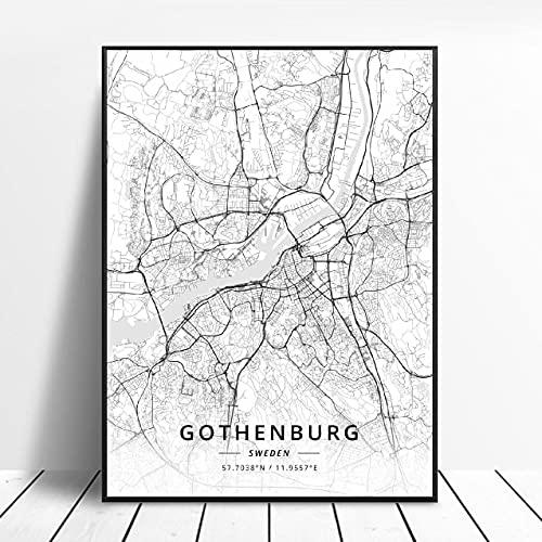 Landskrona Gothenburg Karlstad sodertalje kalmar Sundsvall Sweden Canvas Art Map Poster ?ZW-11? Ingen ram poster 40x60cm