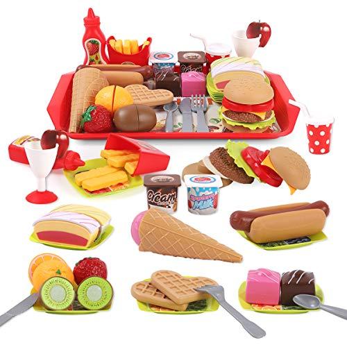REMOKING Küchenspielzeug für Kinder, DIY Hamburger Lebensmittel Spielzeug Set, Schneiden Obst, Kinderküche Rollenspiele Pädagogisches Lernen Spielzeug, Geschenk für Jungen und Mädchen