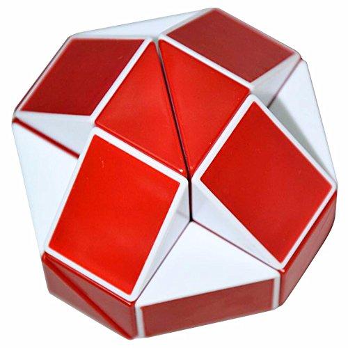 Coolzon® Puzzle de Serpiente Mágica Snake Plegable Rompecabezas Tocer Cubo de 24 Secciones,Blanco(Rojo)