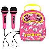 KINDL Kids Karaoke Machine with 2 Microphones Handheld Karaoke Speaker ,Includes Voice Changer ,Applause and Accompaniment and Original Singer ,Singing Machine Connects Mp3 Player Aux in Audio Devi