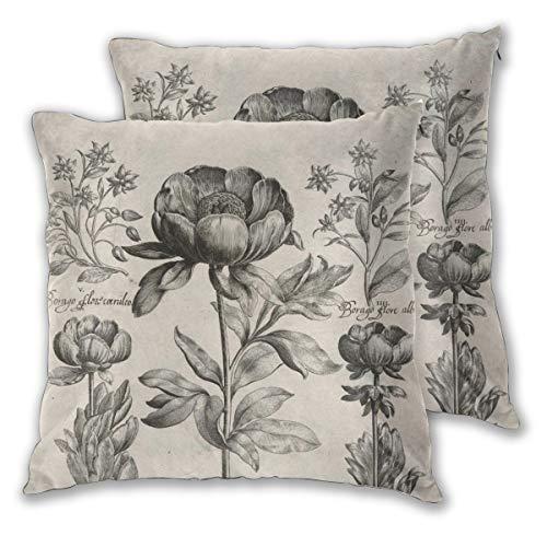 Juego de 2 fundas de cojín vintage con flores botánicas blancas y negras decorativas, cuadradas, fundas de almohada para dormitorio, sala de estar, 45 x 45 cm