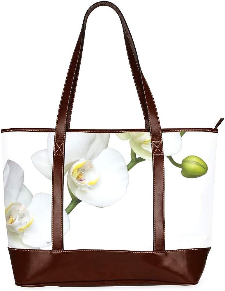 Flower White Flower Macro Orchid Bloom Handbags For Teens Girls Handbags Large Capacity Printed Womans Bag With Zipper Top-handle