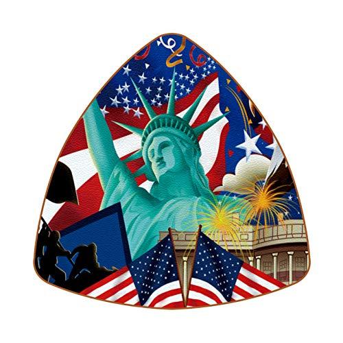 Posavasos triangulares para bebidas, diseño de águila de la bandera americana, para proteger muebles, resistente al calor, decoración de bar de cocina, juego de 6