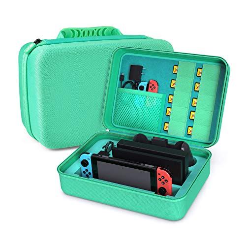 Younik Custodia per Nintendo Switch Case da Viaggio Rigido Deluxe per Console Switch, Dock Switch, Caricabatteria Originale, Cavo HDMI, Controller PRO e Carrello da 10 Giochi (Green)