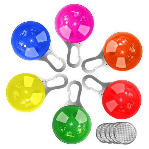FONICE 6 Pcs Sicherheits Clip-On LED Blinklicht Hunde, Halsband LED Licht Leuchtanhänger Schlüsselanhänger 3 Blinkmodisfür Hunde für Läufer, Fahrradfahrer, Outdoor, mit 1 Stück Flea Lice für Hunde