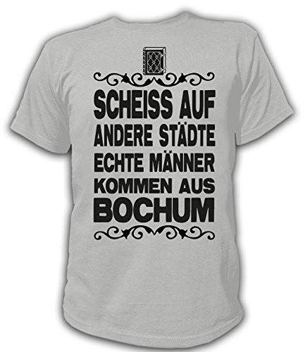 Artdiktat Herren T-Shirt Scheiß auf andere Städte - Echte Männer kommen aus Bochum Größe XXXL, grau
