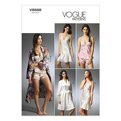 VOGUE PATTERNS V8888 - Patrones de Costura para Batas, Camisones y Pijamas de Camiseta y pantalón Corto de Mujer (Tallas 34 a 42)