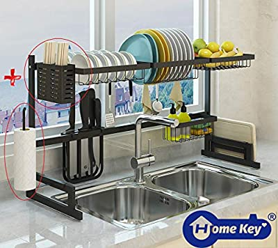"Over The Sink(33.7"") Dish Drying Rack, Double Cutlery Holder Kitchen Drainer Counter Organizer Supplies Shelf Storage Stainless Steel Display Utensil Hooks Space Saver.(Sink size ? 33.7 inch, Black) by HomeKey"