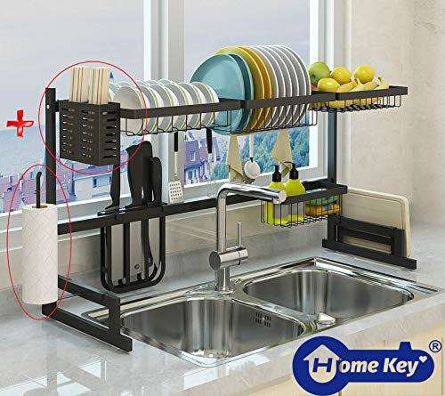 Over the Sink Dish Drying Rack, Double Cutlery Holder Kitchen Drainer Counter Organizer Supplies Shelf Storage Stainless Steel Display Utensil Hooks Space Saver.(Sink size ≤ 33.7 inch, Black)