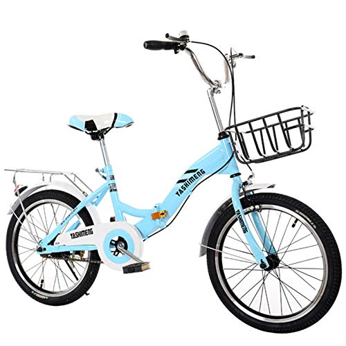 ALUNVA Faltrad,20 Zoll Kohlenstoffstahl Faltfahrrad,Tragbares Klappfahrrad,Mini City Faltbares Fahrrad,Hydraulische Scheibenbremse-Blau 20inch