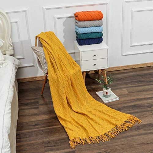 Fineday Home Textiles, Knitted Blanket Textured Solid Super Soft Decorative Throw Blanket with Tassels, for Christmas Day (Yellow)