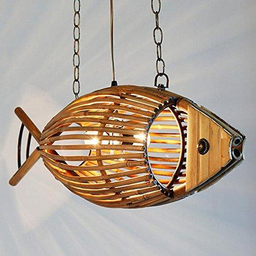 LJF lamp FFF-Iluminación de techo para interiores Luces en forma de Pez Lámparas, Restaurante Bar Cafetería Bambú Luz Tema Rural Restaurante Araña Lámpara colgante