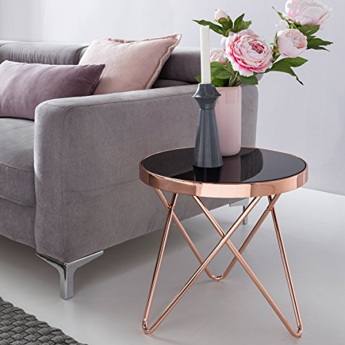 Verre Design métal trépied Table d'appoint ø 42cm Noir/Cuivre | Miroir Table Basse Table Basse Moderne | Table Ronde en Verre Table Basse