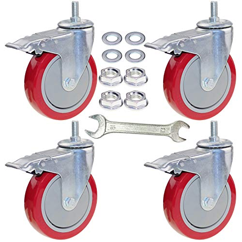 DICASAL 5 Inch Heavy Duty Stem Casters 360 Degree Swivel Thread Wheels with Metric Size M12-1.75 Screw Bolt Double Locking Brake Castor Wheel Load Capacity upto 1500 Lbs Pack of Four