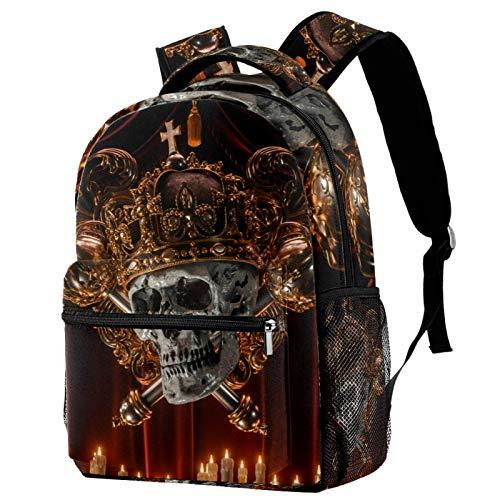 12' Laptop Backpack for Women,College,School Dayparks,Gold Death Skull