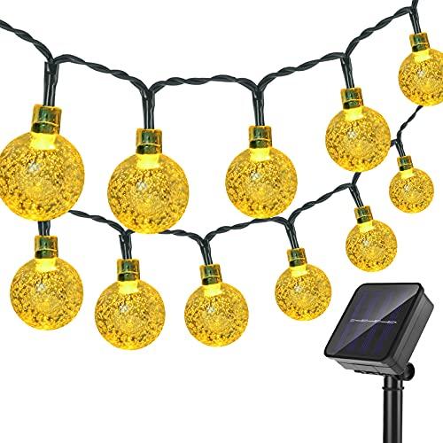 Catena Luminosa Esterno, XLTOK 7M/23ft 50 LED Solare 8 Modalità Lucine Decorative Stringa di Luce Solare di Crystal Globe Impermeabile Luci Della per Festa Natale Giardino Matrimonio (Bianco Caldo)