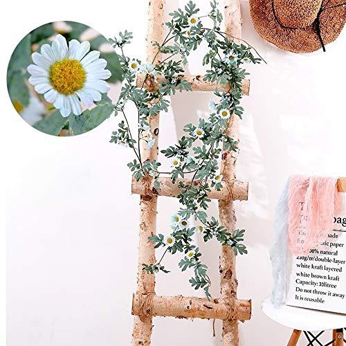 Green Leaf Garland Decoration,Tassle Garland Decorations,Decorated Garland,Daisy Leaf Artificial Flower Vine Interior Background Wall Window Decoration, Length: 1.75m Garland Artificial Flowers