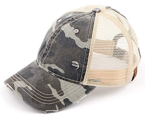 Distressed Trucker Hat - Black Camo/Beige Mesh