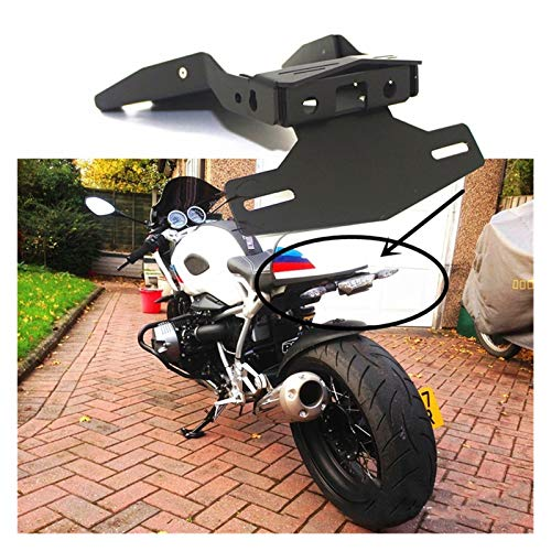 ZHANGWUNIU WUZ Store Motorcycle License Plate Holder Tail Mount Fit For-BMW R NINET NINE T 9T Rear License Plate (Color : Black)