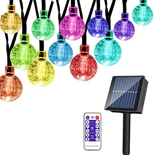 Guirnaldas Luces Exterior Solar, 65led 10 M 8 Modos Bolas De Cristal Solar A Prueba De Agua Luces Exteriores/Interiores IluminacióN Para JardíN, áRboles, Terraza, Navidad, Bodas (Colorido, 10 M)