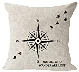 Nordic Simple Sayings Animal Birds Shadow Compass not All who Wonder are Lost Cotton Linen Square Throw Waist Pillow Case Decorative Cushion Cover Pillowcase Sofa 18'x 18' (18''x18'', 2)