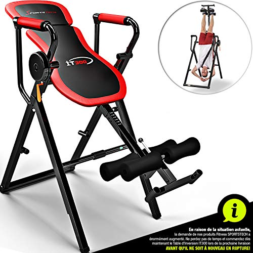 Sportstech Table d'Inversion Multifonctions IT300 Musculation Traction 6-en-1, Muscles dorsaux,...