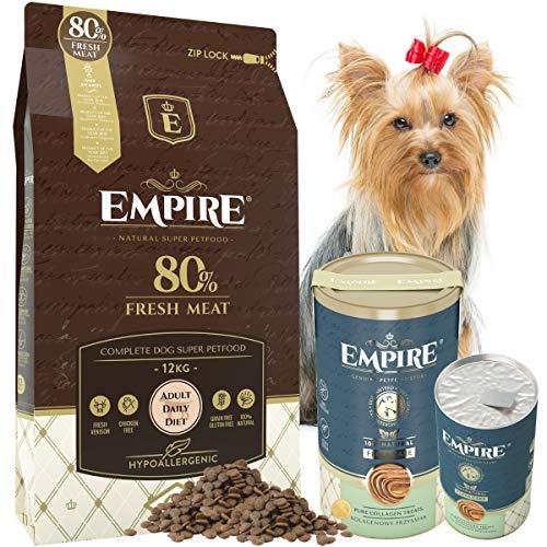 Empire Erwachsene Hunde Trockenfutter - 12kg+120g Kollagen - Hundefutter Trocken Getreidefrei - Kleine Rassen - 80% Frisches Wildfleisch und Lamm - Hypoallergen - Glutenfrei