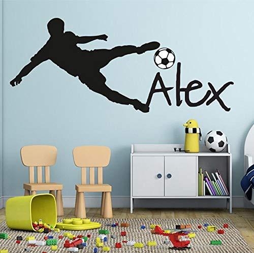 ykxykw Voetbal muur beker schil Voetbal bal Gepersonaliseerde Naam Vinyl Muursticker Art Kinderen Muursticker Kids Kamer Decor 42 * 95 cm