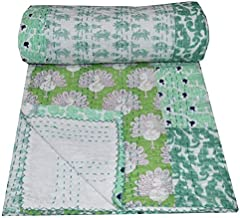 Yuvancrafts Indian Hand Block Floral Print Kantha Quilt Handmade Vintage Queen Size Cotton Kantha Throw Blanket Bedspread...
